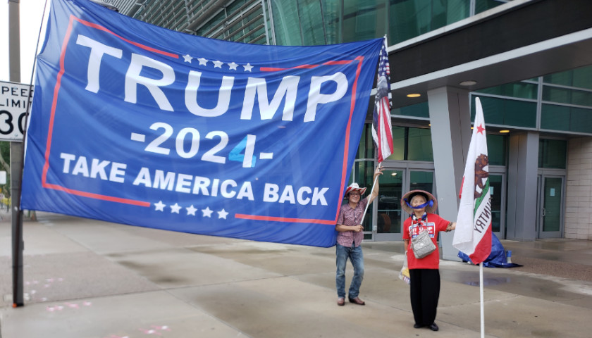Attendees Lining Up the Night Before 'Protect Our Elections' Rally with Former President Trump Hosted by Turning Point Action
